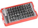 EXTOL PREMIUM behajtó készlet. 51 db Cr.V., lapos:3-7mm, PH0-3, PZ0-3, HEX 1,5-6mm, T és TTa 8-40, övre akasztható műanyag tartóban