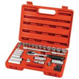"""EXTOL dugókulcs klt., CV., racsnis 45fog ; 3/8"""", 39db, normál(8-22mm) és hosszú(8-19mm) dugófejek, gyertyakulcs 16&21mm, 11 bit"""