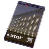 EXTOL fafúró klt., műanyag dobozban; 8db 3-10mm polírozott