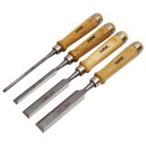 EXTOL favéső készlet, CV. ; 4db, 6-12-20-25mm HRC56-62, kőrisfa nyél