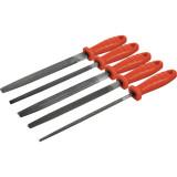 EXTOL fémreszelő klt., 5 db (lapos, félkerek, kerek, négyszög, háromszög), 200mm, T12 acél, vágat 2, finom, műanyag nyél