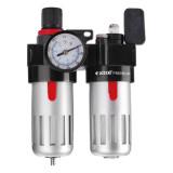 """EXTOL levegőelőkészítő (légszűrő nyomásszabályozóval, olajozóval és manométerrel),max.8Bar,1/4"""",max.60°C,90ml szűrő&90ml olajzó"""