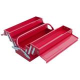 EXTOL szerszámosláda fém 40×20×20cm, 5 rekesz, festett lemez, piros, lakatolható