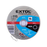 Extol Premium vágókorong 10 db, acélhoz/inoxhoz, kék; 115×1×22,2mm, max 13300 ford/perc, fémdobozban 8808101