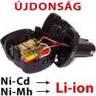 Ni-Cd és Ni-Mh kisgépakkumulátor átalakítás Li-ion akkura