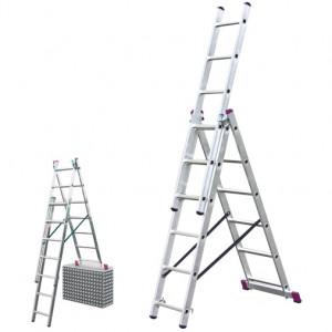 Krause CORDA háromrészes létrafokos sokcélú létra lépcsőfunkcióval, 3x6 fokos termék fő termékképe
