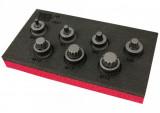 """Welzh Werkzeug 2551-WW 3/8""""-os gépi rátűzőkulcs készlet, extra alacsony, XZN Spline M4-M14, 7 részes"""