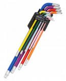 Welzh Werkzeug 2791-WW L-alakú, extra hosszú, színkódolt lyukas torxkulcs készlet, 9 részes