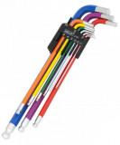 Welzh Werkzeug 2792-WW gömbvégű imbuszkulcs készlet, extra hosszú, színkódolt, metrikus, 9 részes