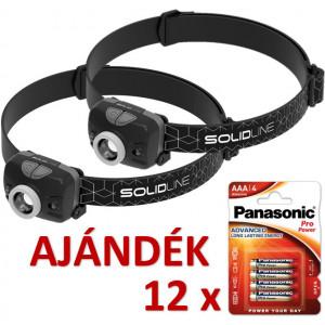 Solidline 2 db SH3 LED fejlámpa, fókusz, hand on/off, 3 x AAA, 300/180/100/20 lm (bliszteres) + AJÁNDÉK 12 bliszter LR03PPG-4BP termék fő termékképe