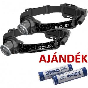 Solidline 2 db SH6R tölthető LED fejlámpa, fókusz, 1 x 18650 Li-ion, 600/250/30 lm (bliszteres) + AJÁNDÉK 2 db P1832U akkumulátor termék fő termékképe