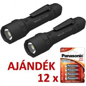 Solidline 2 db SL10 műanyag házas LED lámpa, fókusz, 4 x AA, 750/300/30 lm (bliszteres) + AJÁNDÉK 12 bliszter LR6PPG-4BP termék fő termékképe