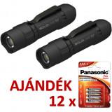 Solidline 2 db SL6 műanyag házas LED lámpa, fókusz, 3 x AAA, 320/120/30 lm (bliszteres) + AJÁNDÉK 12 bliszter LR03PPG-4BP
