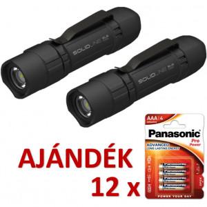 Solidline 2 db SL6 műanyag házas LED lámpa, fókusz, 3 x AAA, 320/120/30 lm (bliszteres) + AJÁNDÉK 12 bliszter LR03PPG-4BP termék fő termékképe