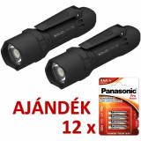 Solidline 2 db SL7 műanyag házas LED lámpa, fókusz, 4 x AAA, 400/250/30 lm (bliszteres) + AJÁNDÉK 12 bliszter LR03PPG-4BP