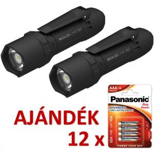 Solidline 2 db SL7 műanyag házas LED lámpa, fókusz, 4 x AAA, 400/250/30 lm (bliszteres) + AJÁNDÉK 12 bliszter LR03PPG-4BP termék fő termékképe