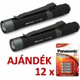 Solidline 2 db ST2 fémházas LED lámpa, 1 x AAA, 120/50/10 lm (bliszteres) + AJÁNDÉK 12 bliszter LR03PPG-4BP