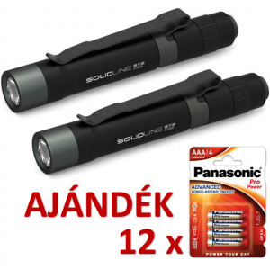 Solidline 2 db ST2 fémházas LED lámpa, 1 x AAA, 120/50/10 lm (bliszteres) + AJÁNDÉK 12 bliszter LR03PPG-4BP termék fő termékképe