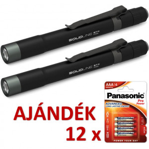 Solidline 2 db ST4 fémházas LED lámpa, 2 x AAA, 180/80/10 lm (bliszteres) + AJÁNDÉK 12 bliszter LR03PPG-4BP termék fő termékképe