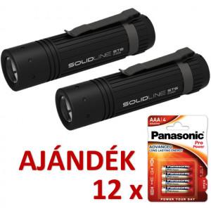 Solidline 2 db ST6 fémházas LED lámpa, fókusz, 3 x AAA, 320/200/30 lm (bliszteres) + AJÁNDÉK 12 bliszter LR03PPG-4BP termék fő termékképe