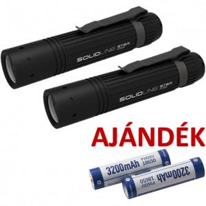 Solidline 2 db ST6R fémházas, tölthető LED lámpa, fókusz, 1 x 18650 Li-ion, 800/250/30 lm (bliszteres) + AJÁNDÉK 2 db P1832U akkumulátor termék fő termékképe