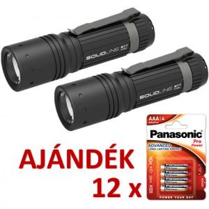Solidline 2 db ST7 fémházas LED lámpa, fókusz, 3 x AAA, 360/200/30 lm (bliszteres) + AJÁNDÉK 12 bliszter LR03PPG-4BP termék fő termékképe