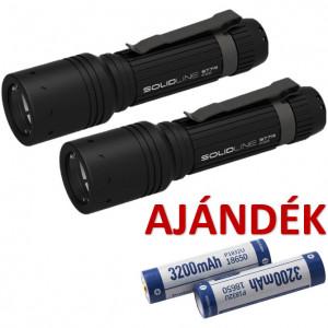Solidline 2 db ST7R fémházas, tölthető LED lámpa, fókusz, 1 x 18650 Li-ion, 1000/250/30 lm (bliszteres) + AJÁNDÉK 2 db P1832U akkumulátor termék fő termékképe