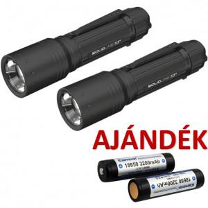 Solidline 2 db ST8R fémházas, tölthető LED lámpa, fókusz, 1 x 18650 Li-ion, 600/250/10 lm (bliszteres) + AJÁNDÉK 2 db P1832J akkumulátor termék fő termékképe