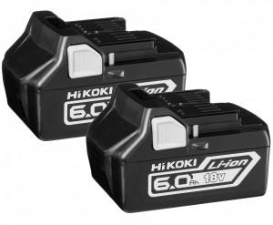 HiKoki BSL1860 csúszótalpas Li-ion akkumulátor, 18V, 6.0Ah, 2db/csomag termék fő termékképe