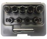 """Welzh Werkzeug 4090-WW 3/8""""-os csavarkiszedő készlet sérült fejű csavarokhoz, 10-19 mm, 9+1 részes"""