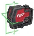 Milwaukee L4 CLLP-301C újratölthető 2-vonalas keresztvetítő és pontlézer, zöld