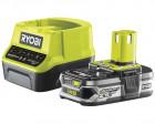 Ryobi RC18120-125 18V ONE+ kompakt töltő és 1 db Lithium+ Li-ion akkumulátor, 18 V, 2.5 Ah