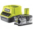 Ryobi RC18120-140 18V ONE+ kompakt töltő és 1 db Lithium+ Li-ion akkumulátor, 18 V, 4.0 Ah