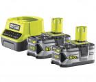 Ryobi RC18120-250 18V ONE+ kompakt töltő és 2 db Lithium+ Li-ion akkumulátor, 18 V, 5.0 Ah