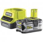 Ryobi RC18120-150 18V ONE+ kompakt töltő és 1 db Lithium+ Li-ion akkumulátor, 18 V, 5.0 Ah