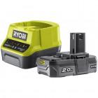 Ryobi RC18120-120 18V ONE+ kompakt töltő és 1 db Lithium+ Li-ion akkumulátor, 18 V, 2.0 Ah