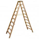 Krause STABILO Professional két oldalon járható lépcsőfokos fa állólétra, 2x10 fokos