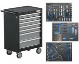 BGS Technic 9-4062 szerszámos szekrény, 7 fiókos, gyári-felszerelt, 263 db-os