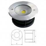 Elmark LED kültéri, talajba süllyeszthető lámpatest, króm, Ø150 mm, 800 lm, 5500 K, 10 W