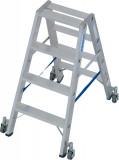 Krause STABILO Professional két oldalon járható lépcsőfokos állólétra, gurítható, 2x4 fokos