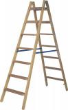 Krause STABILO Professional két oldalon járható lépcső- / létrafokos fa állólétra, 2x7 fokos