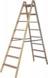 Krause STABILO Professional két oldalon járható lépcső- / létrafokos fa állólétra, 2x8 fokos