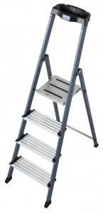 Krause MONTO Securo egy oldalon járható lépcsőfokos állólétra, eloxált, 4 fokos termék fő termékképe