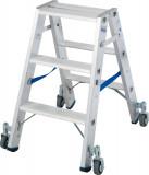 Krause STABILO Professional két oldalon járható lépcsőfokos állólétra, gurítható, 2x3 fokos