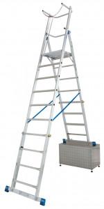 Krause STABILO Professional egy oldalon járható teleszkópos állólétra nagy dobogóval és kapaszkodókerettel, 8-10 fokos termék fő termékképe