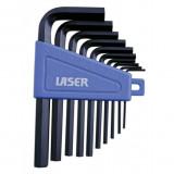 Laser Tools LAS-0952 L-alakú imbuszkulcs készlet, metrikus, 10 részes