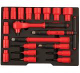 """Laser Tools LAS-6149 1/2""""-os 6-lapú VDE szigetelt dugókulcs és rátűzőkulcs készlet, 20 részes"""