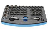 """Laser Tools LAS-6428 1/4"""" és 3/8""""-os dugókulcs és 1/4"""" és 5/16""""-os bitkészlet, 47 részes"""