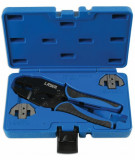 Laser Tools LAS-7002 racsnis saruzó fogó szigeteletlen sarukhoz, DIN 0.35-1.5 mm2 + cserélhető fejek