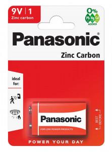 Panasonic 6F22R-1BP RED ZINC féltartós elem, 9 V-os hasáb, 1db/bliszter termék fő termékképe